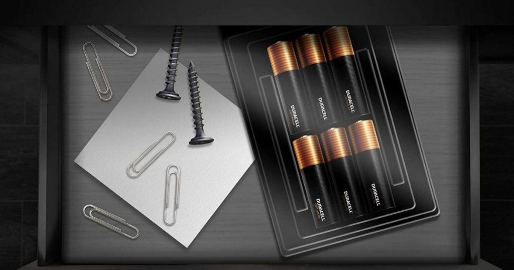 Duracell Optimum batteries in office drawer