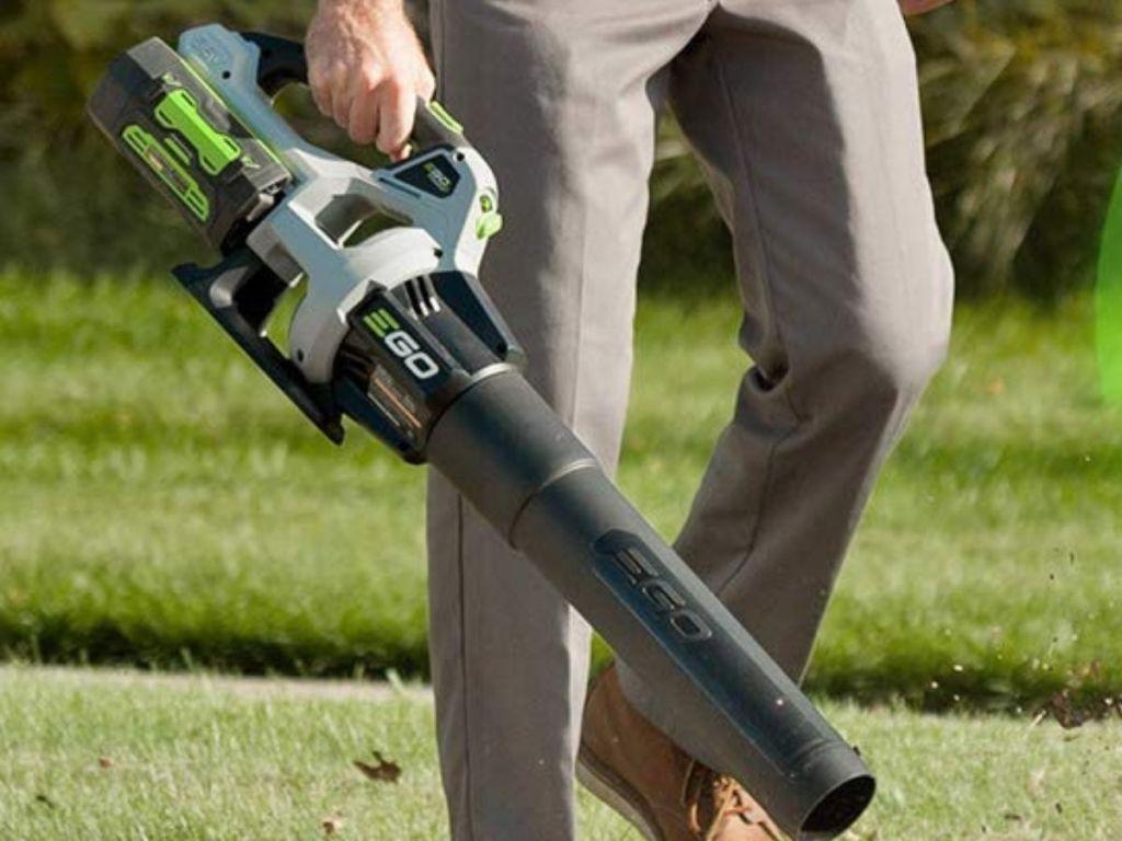 man using EGO leaf blower