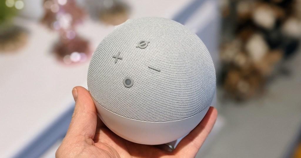 holding an Amazon Echo speaker