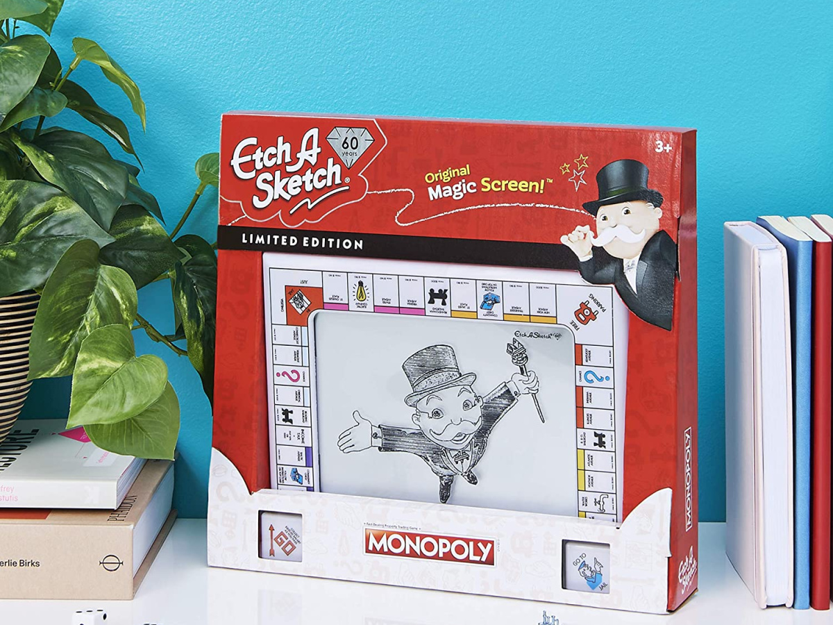 Monopoly themed Etch A Sketch toy in packaging