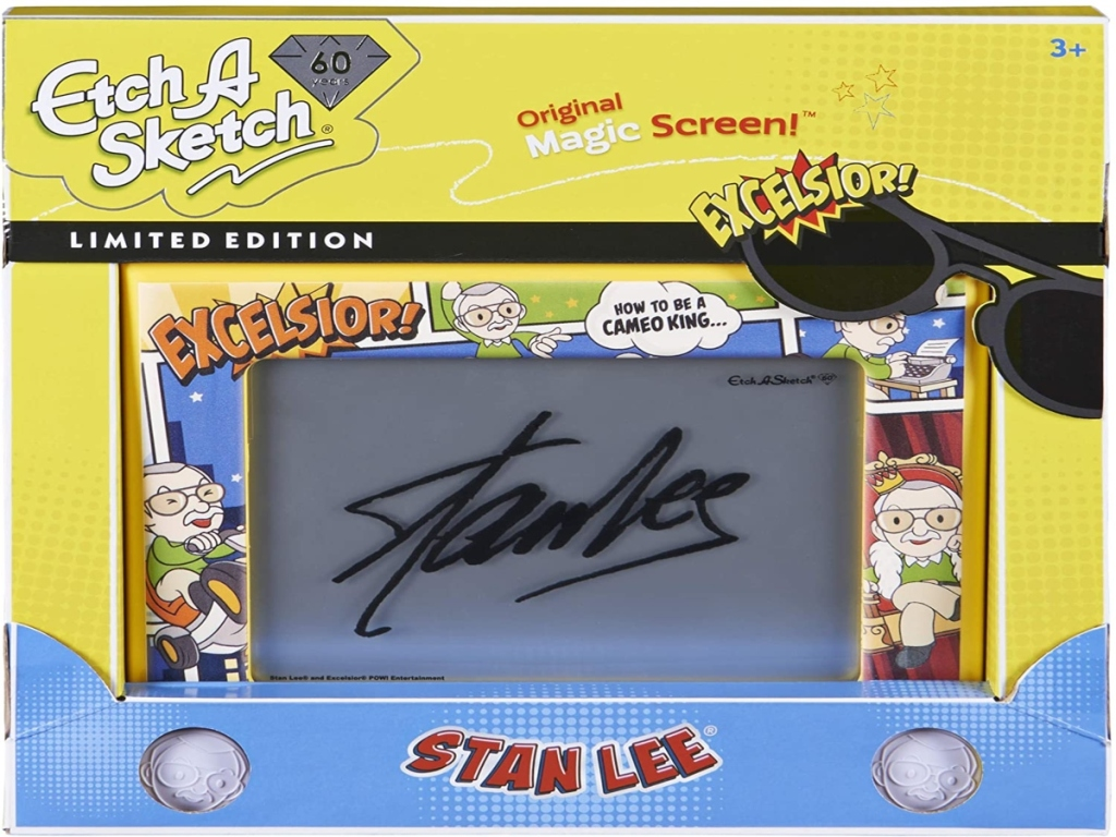 Etch A Sketch Stan Lee Edition in yellow packaging