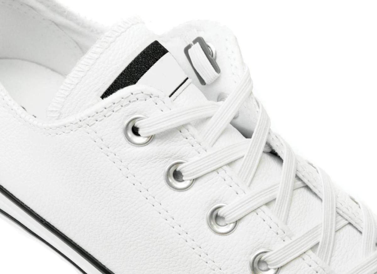 Xpand No Tie Shoelaces on white shoe