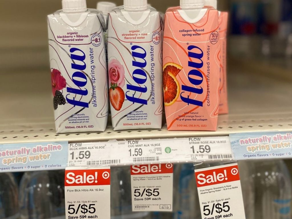 Flow alkaline water 500ml cartons on store shelf at Target