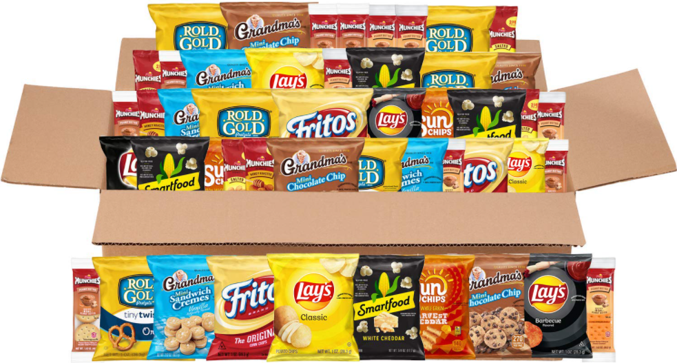 box filled with Frito-lay snacks