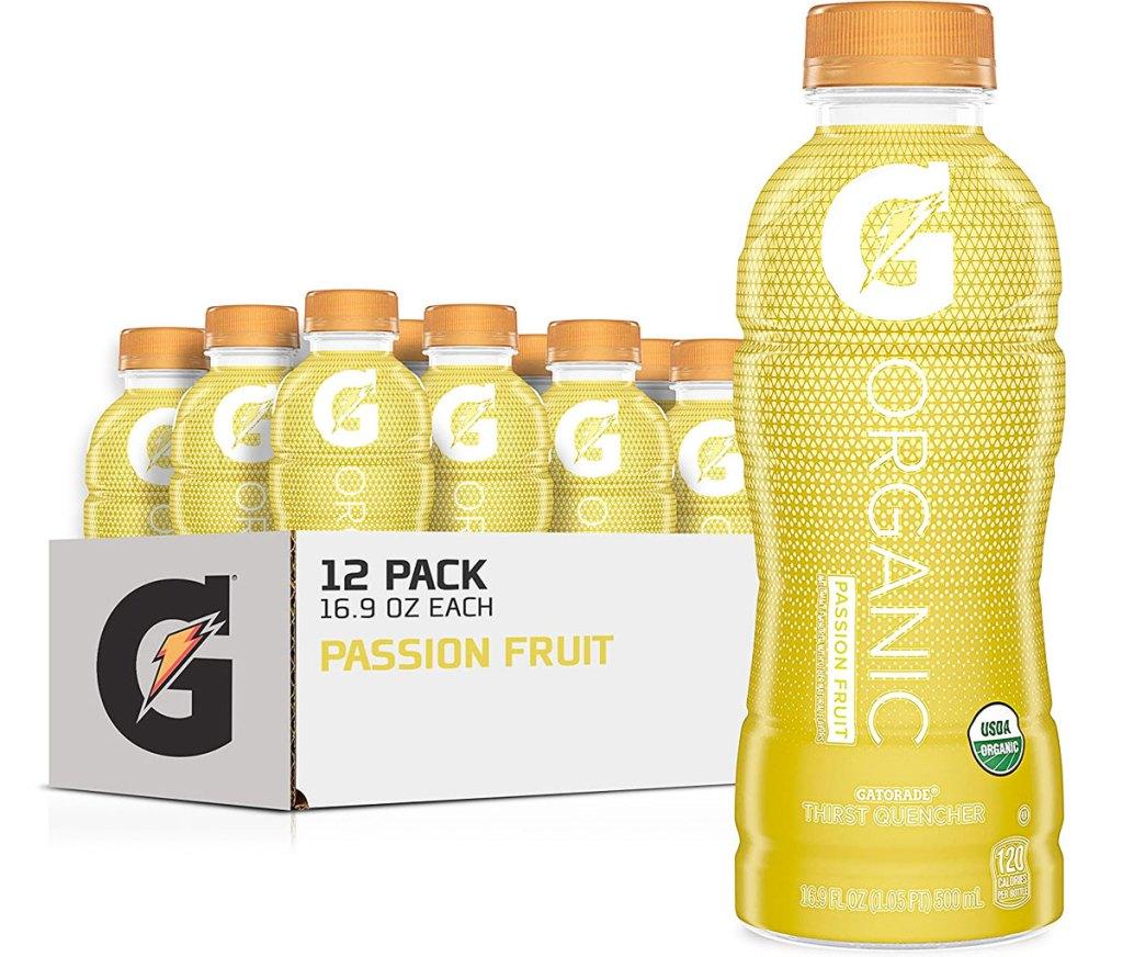 case of yellow gatorade drinks