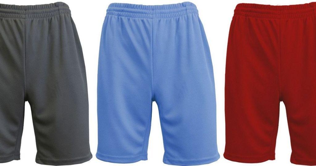 Three pairs of men's mesh shorts