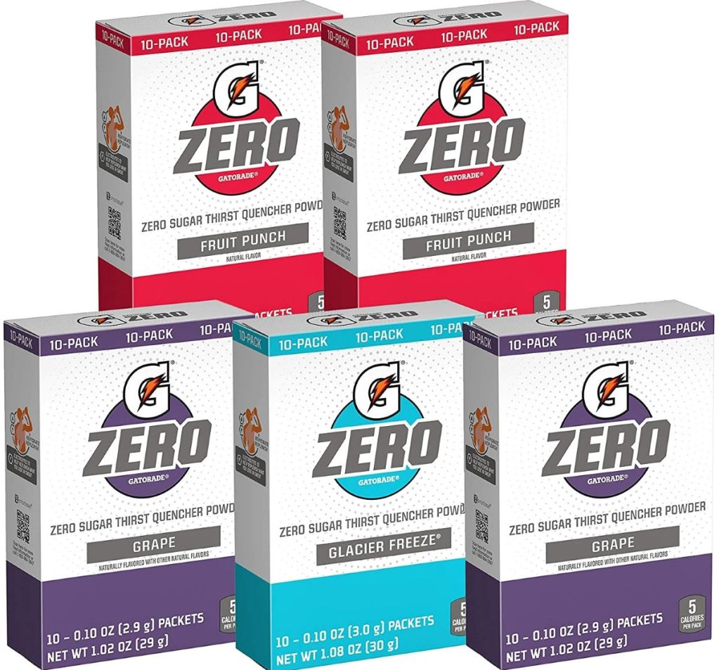 boxes of Gatorade G-Zero Powder