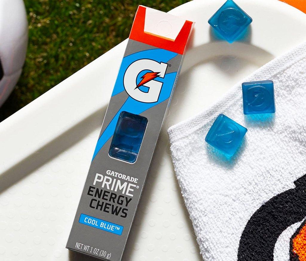 blue gatorade chews next to their box