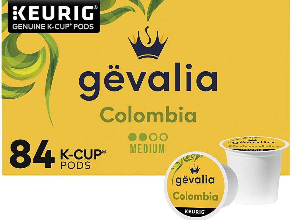 Gevalia Colombia k-cup box and k-cup