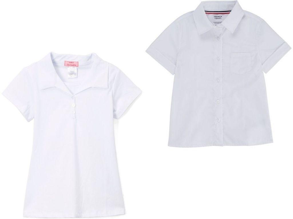 Girls white uniform shirts