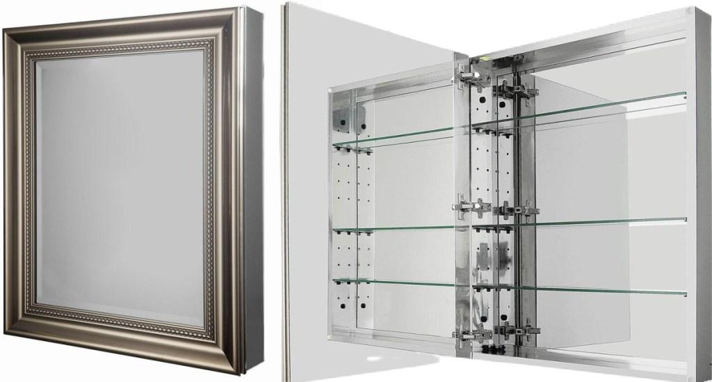 Glacier Bay 24 in. W x 30 in. H Framed Medicine Cabinet in Brushed Nickel