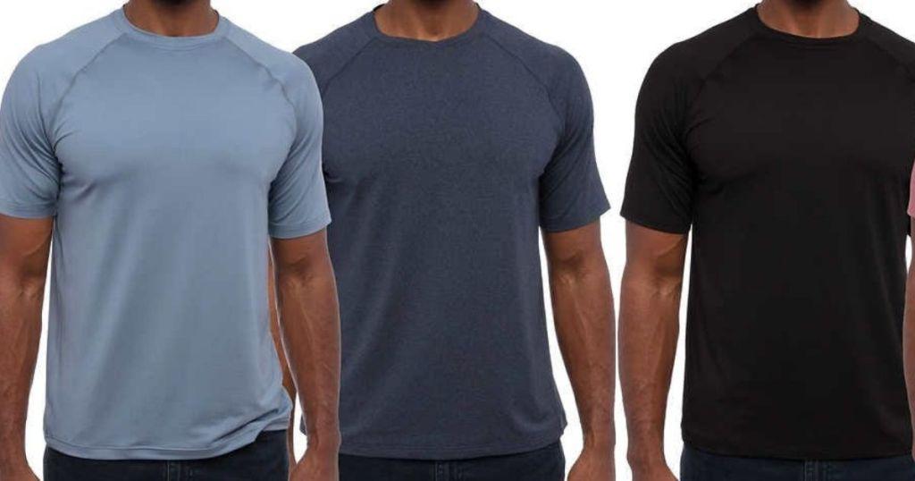 three men wearing t-shirts