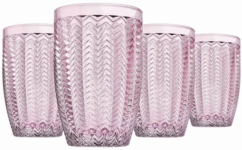 pink tinted highball glasses