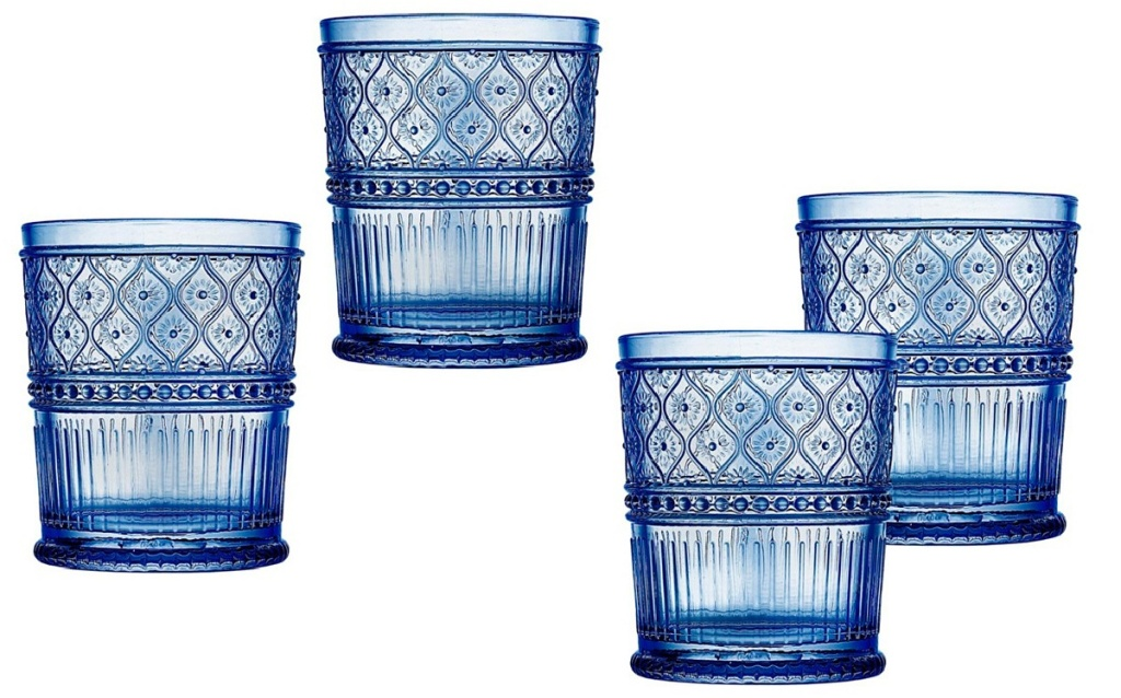 blue old fashioned glasses