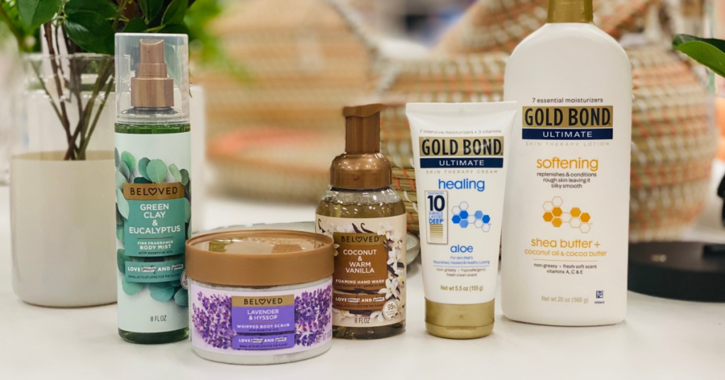 skin care products on shelf