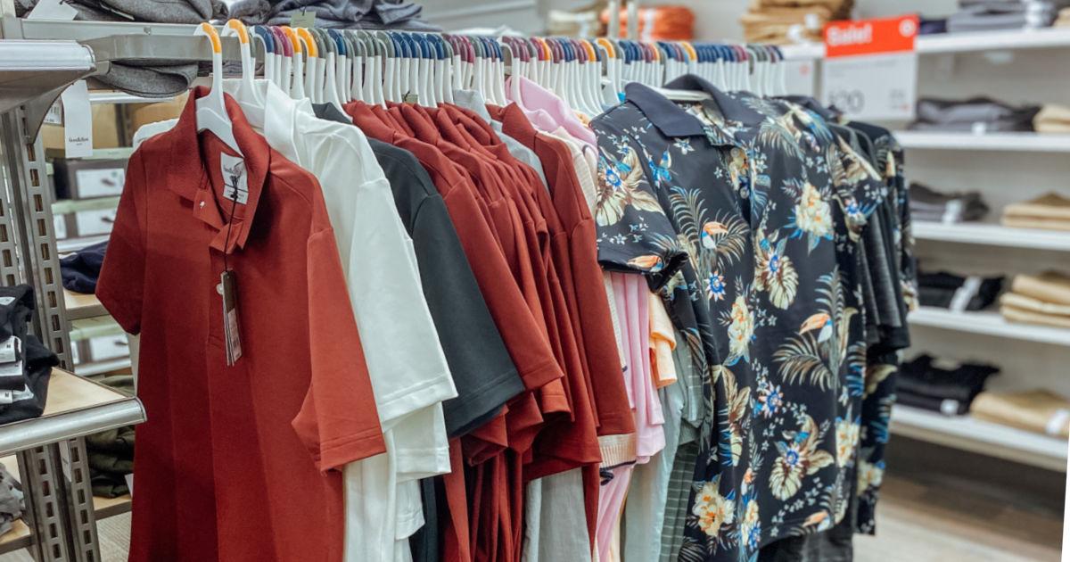 men's polo shirts on rack