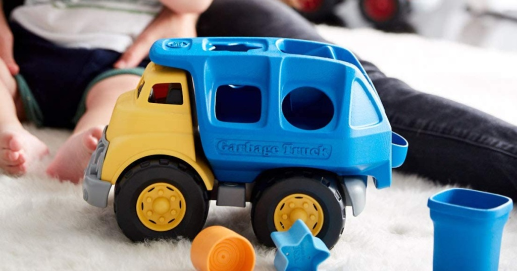 green toys blue and yellow truck shape sorter
