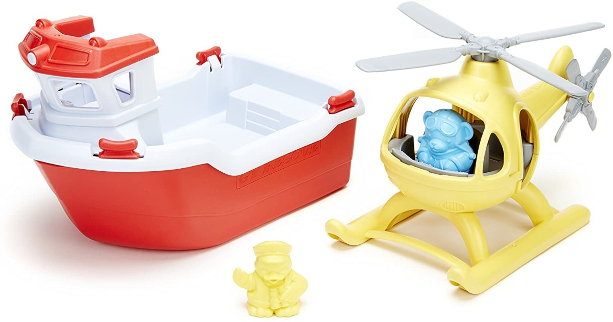 toy rescue boat and helicopter