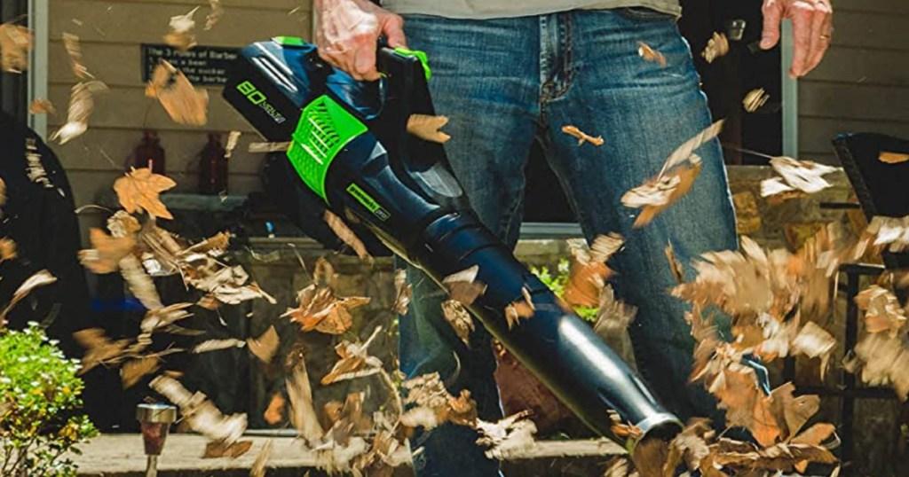 man holding a greenworks leaf blower