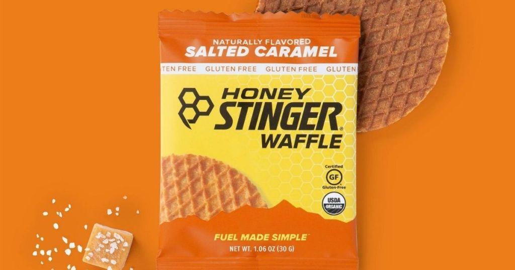 Honey Stinger Waffle with caramel next to it