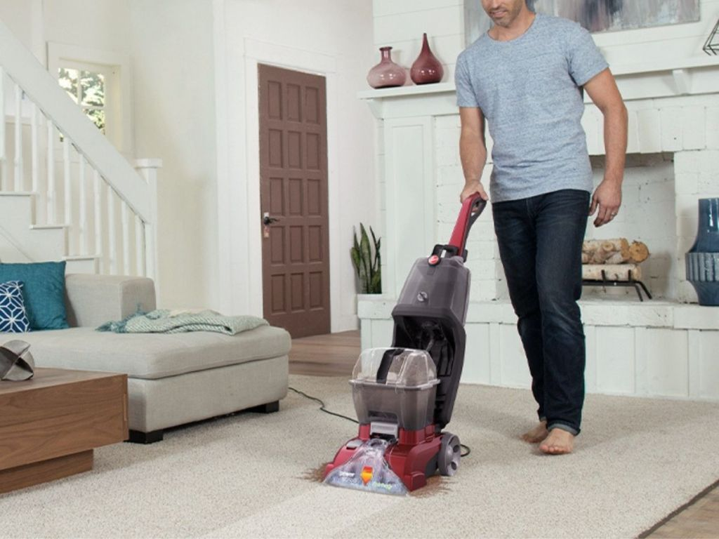man using Hoover Power Scrubber Deluxe