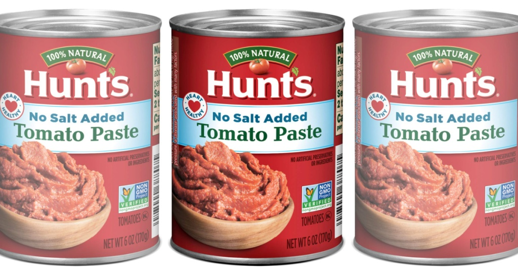 3 hunt's tomato paste cans