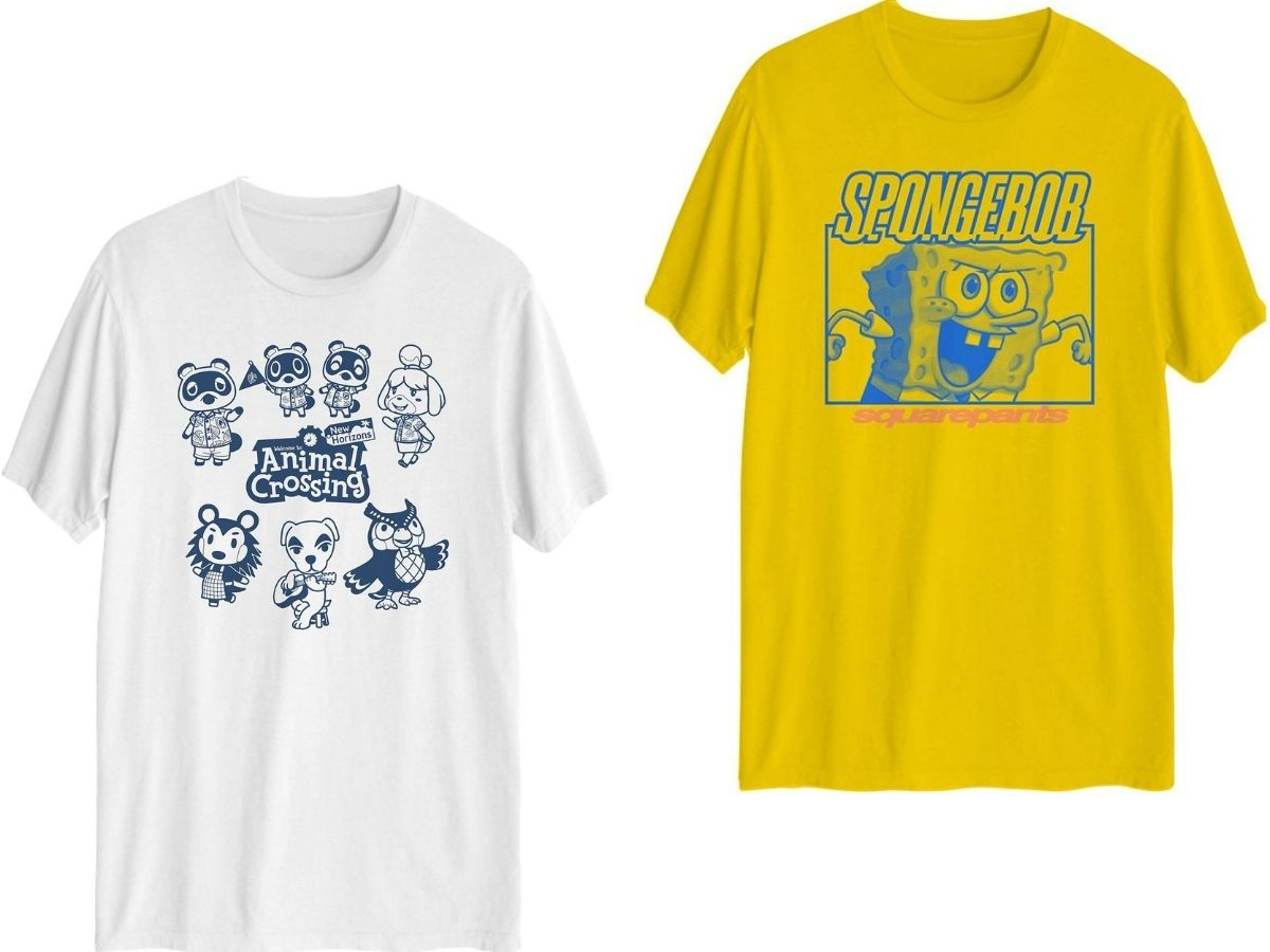two men's graphic t-shirts