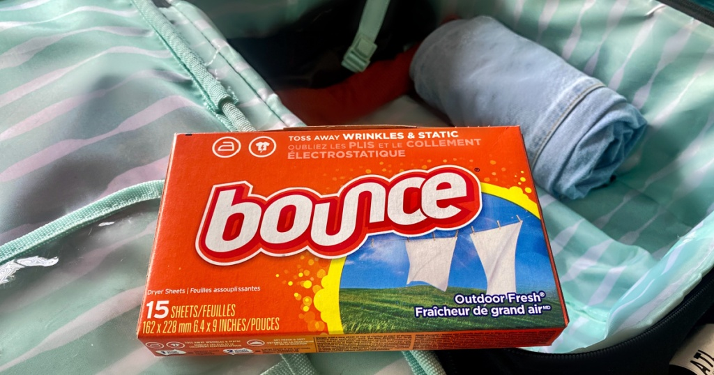 dryer sheet bounce on suitcase as a helpful packing tip for fresh clothes
