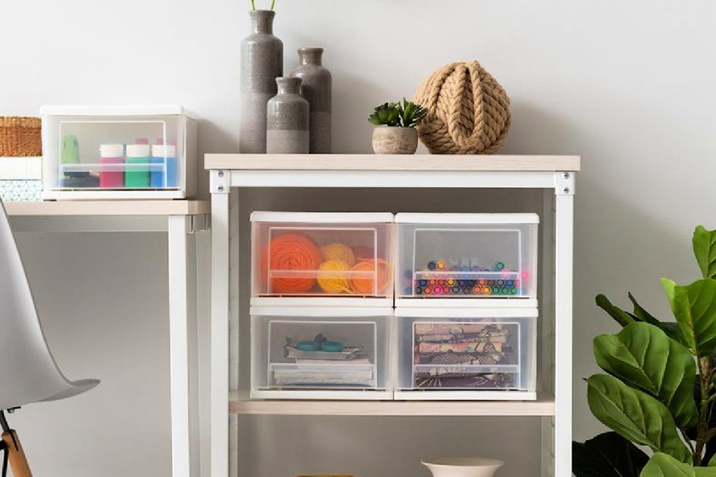 IRIS 5-Pack 7qt Small Stacking Drawer in White