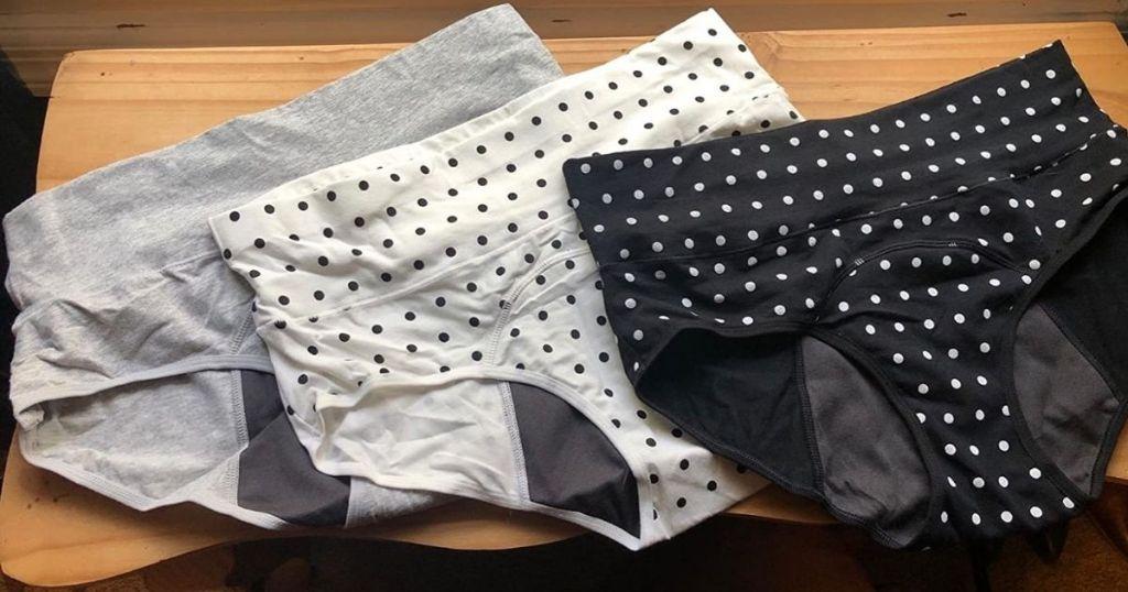three pairs of underwear