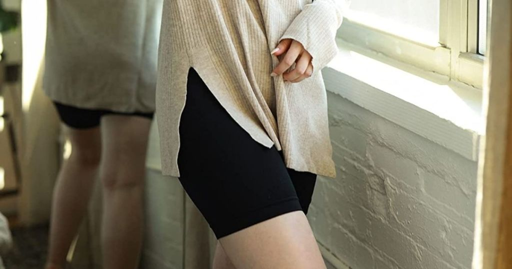 woman wearing a pair of slip shorts