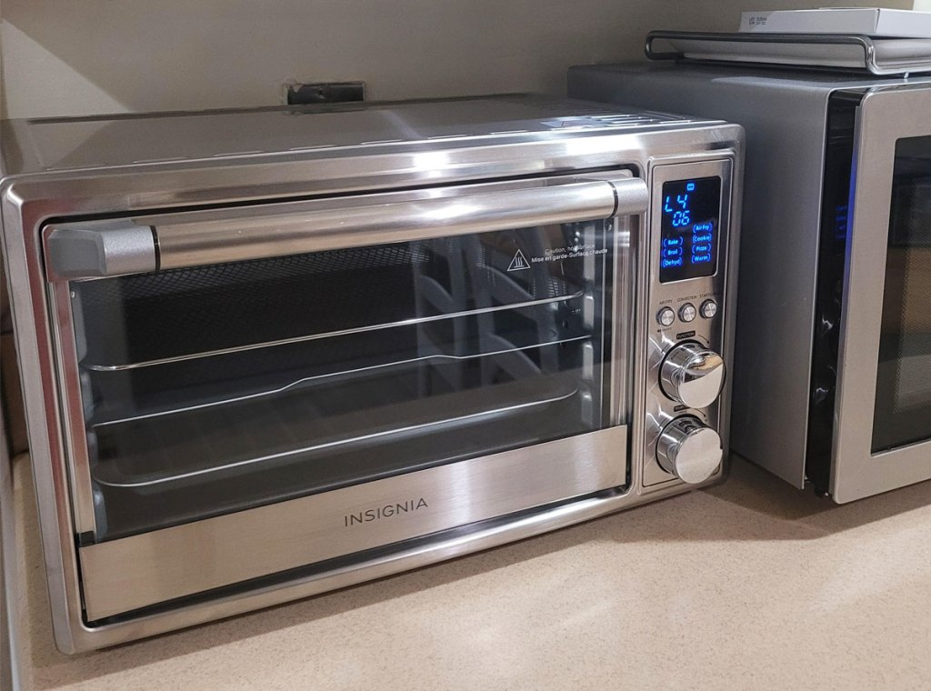 stainless steel toaster oven on counter