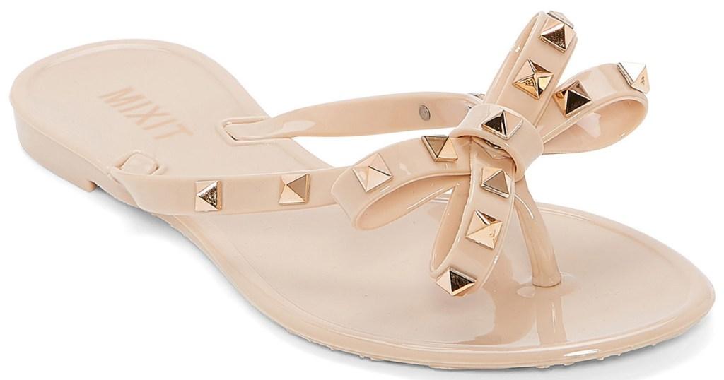 cream studded bow sandals