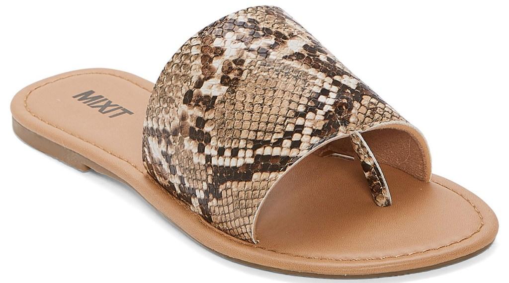 snake print slide sandals