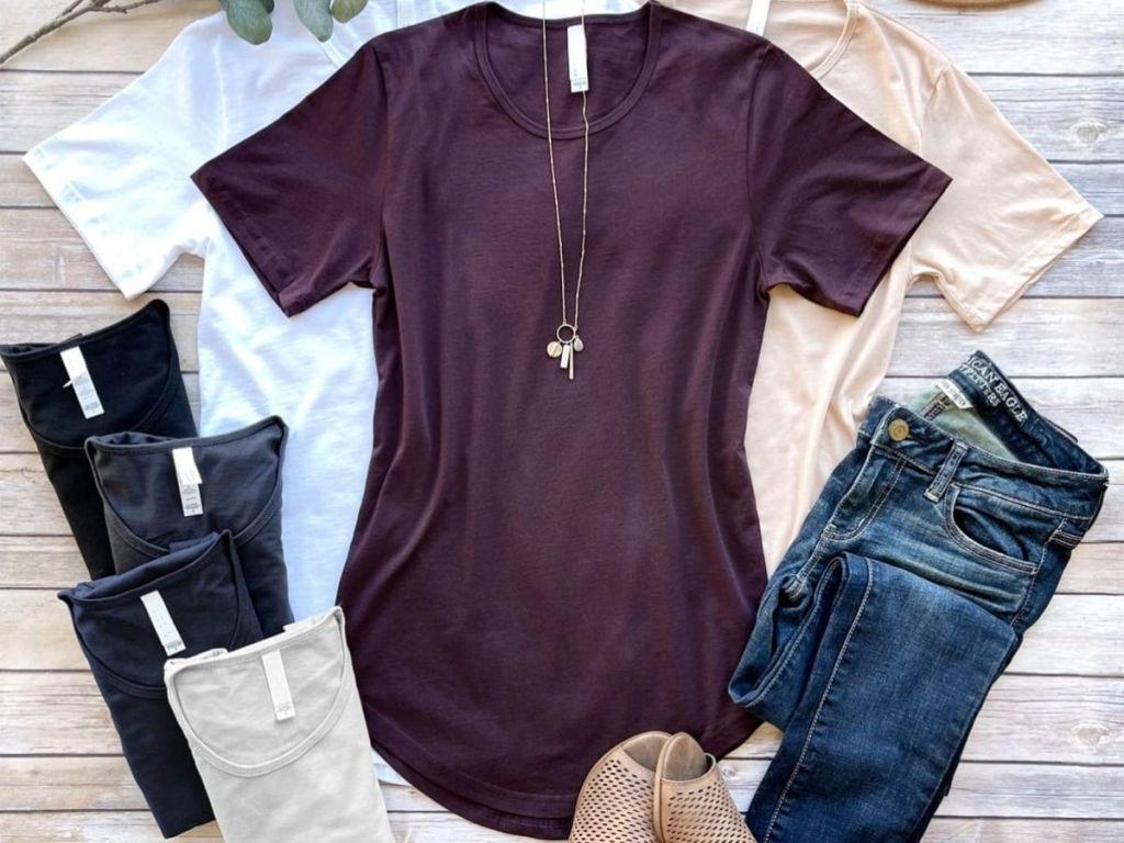 purple short sleeved top