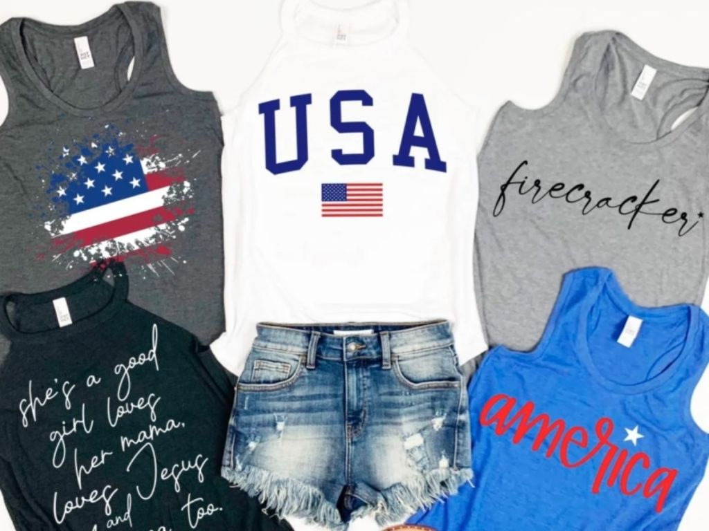 4th of july womens tanks