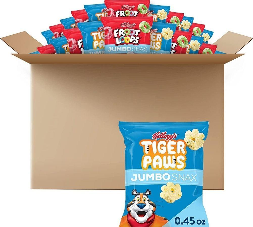 Kellogg's Tiger Paws and Froot Loops box of snacks
