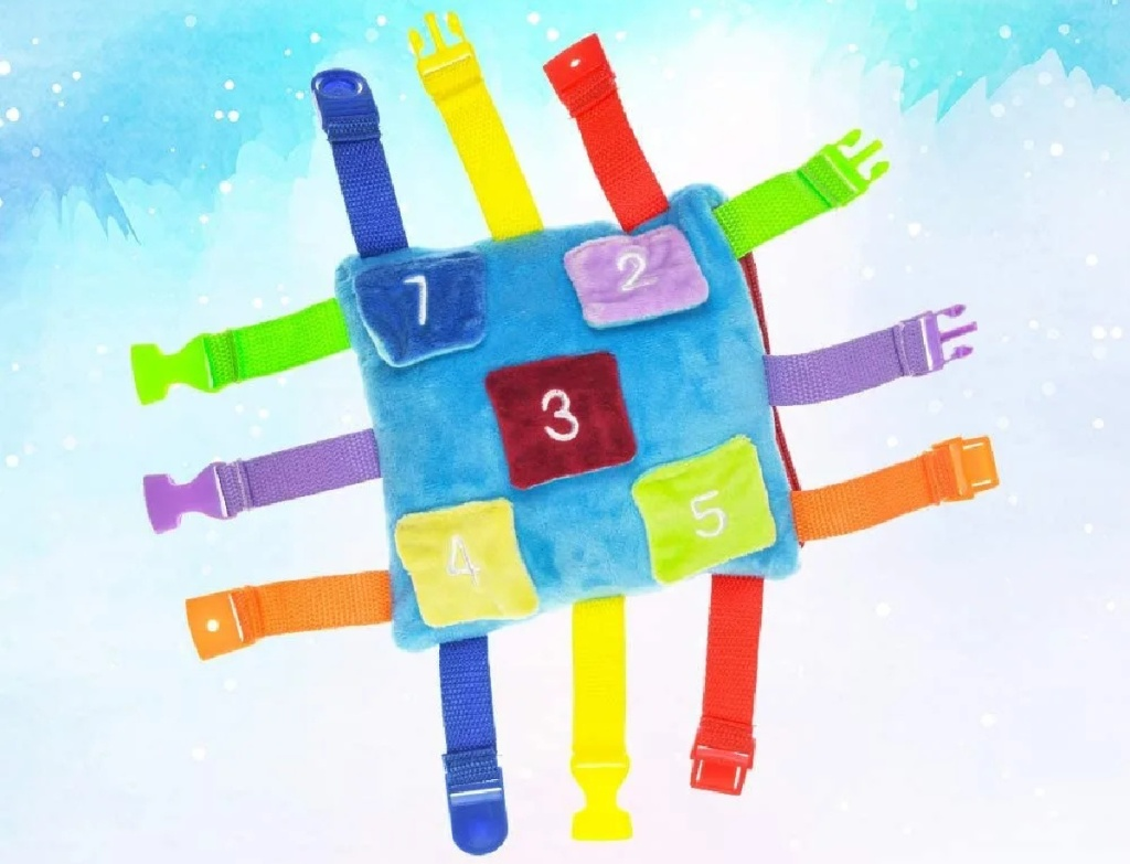 Kids sensory pillow with clips open