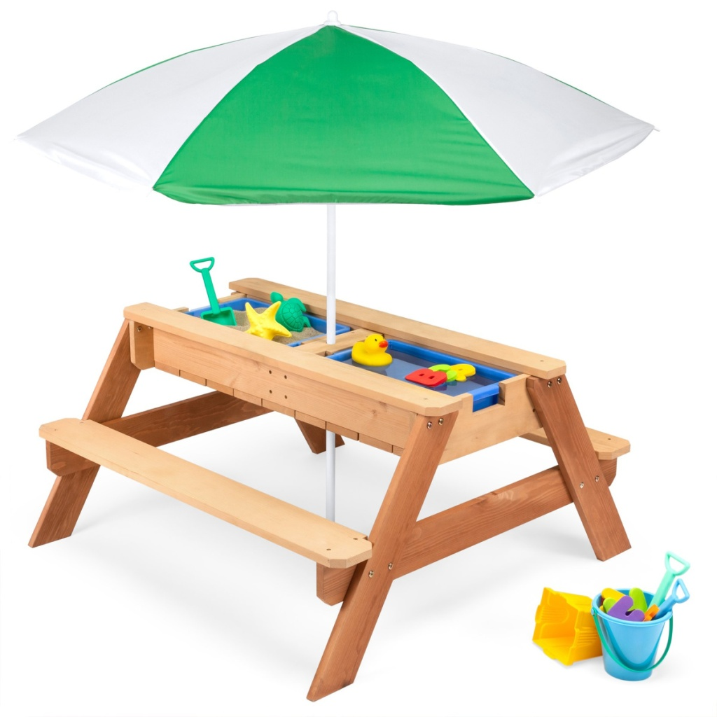 kids picnic table with white and green umbrella