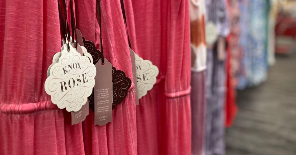 pink dresses on rack