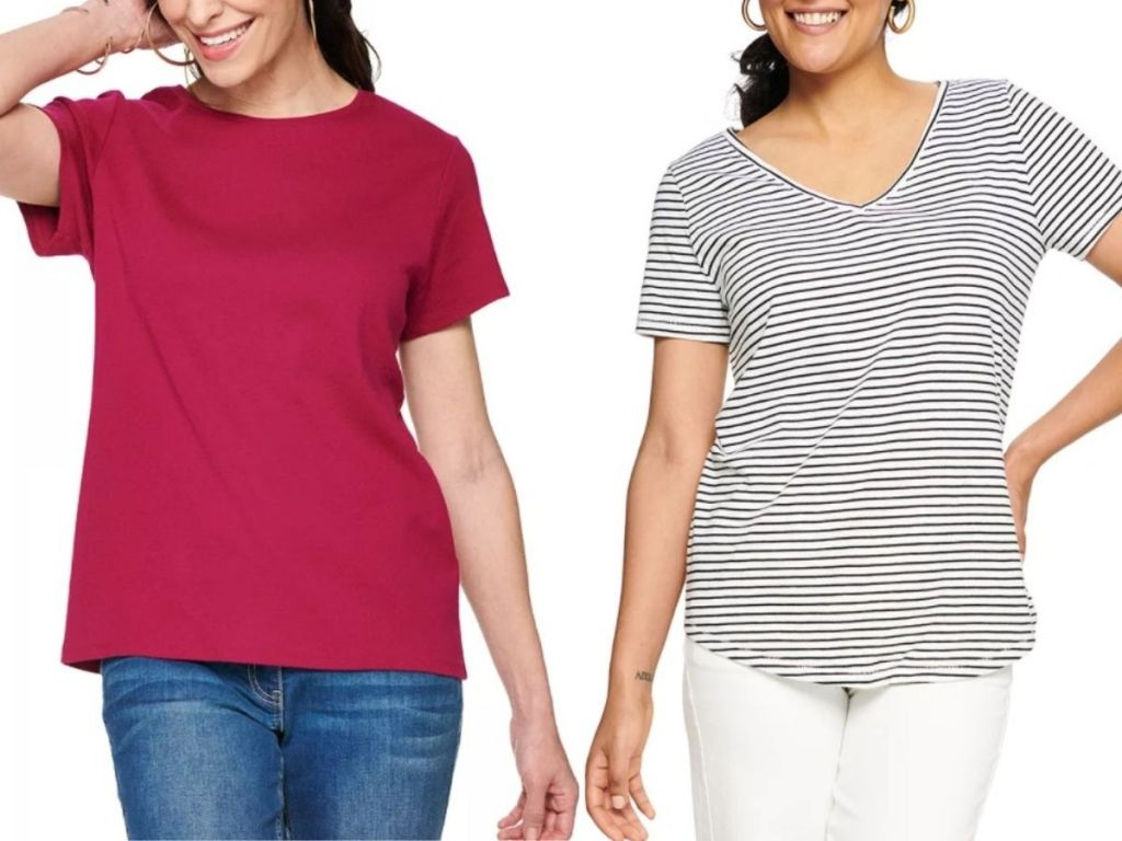 Kohl's tees for women worn by two women