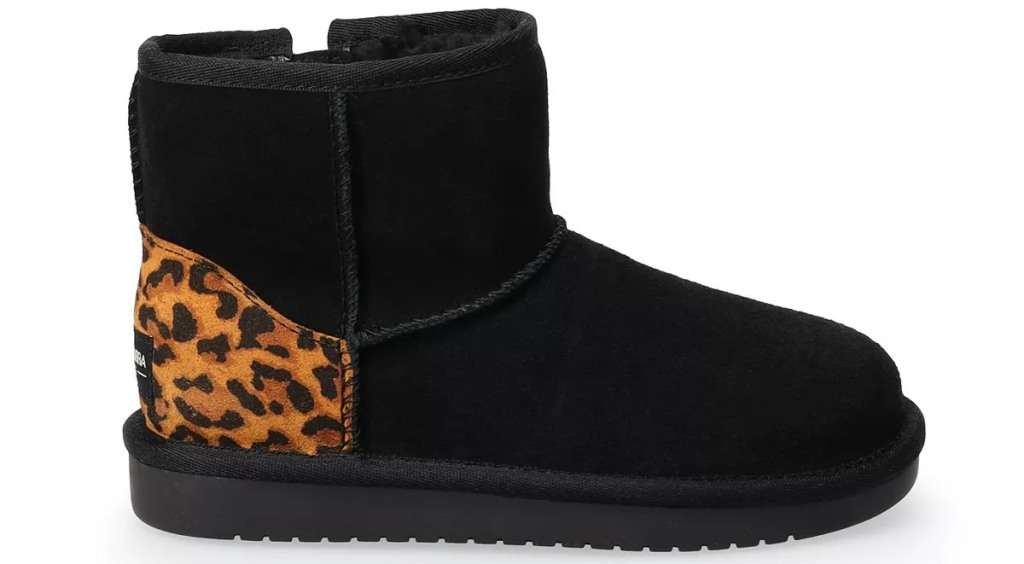 black fuzzy boots with leopard print heels
