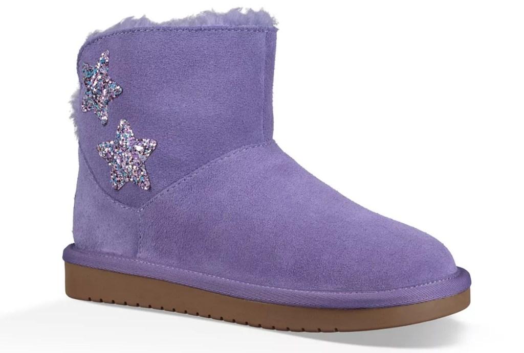 fuzzy purple boot with glittery star