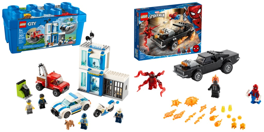 two LEGO sets - City and Marvel