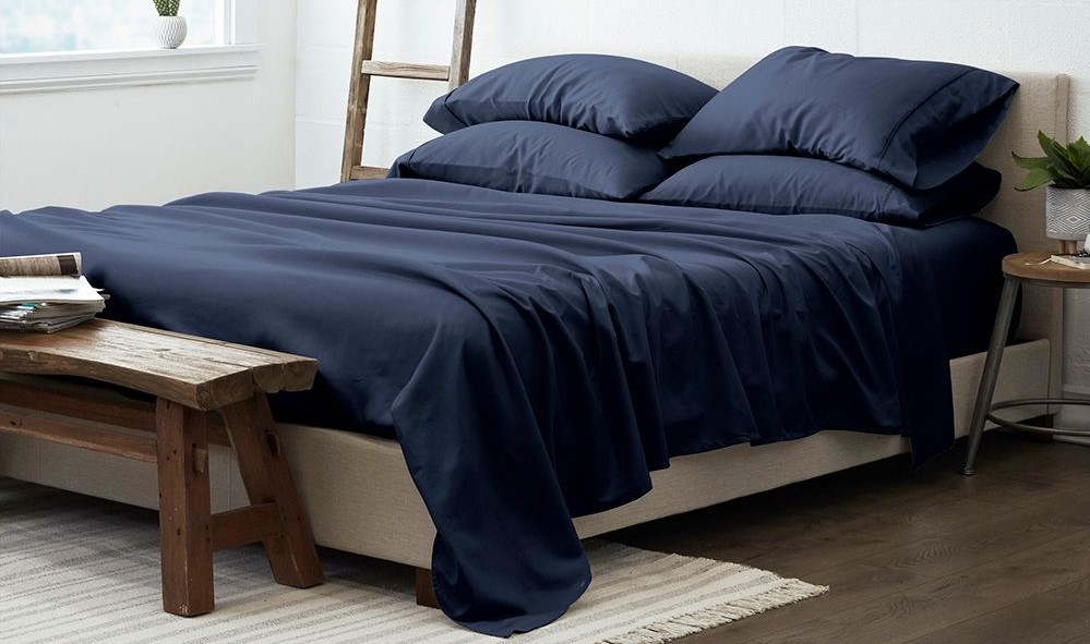 bed with sheets on it