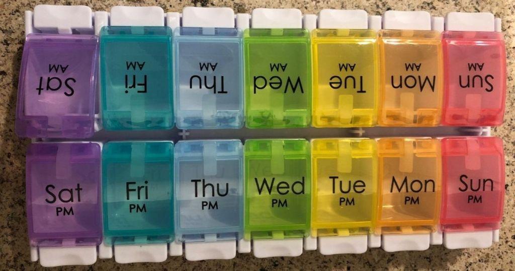 multicolored pill organizer