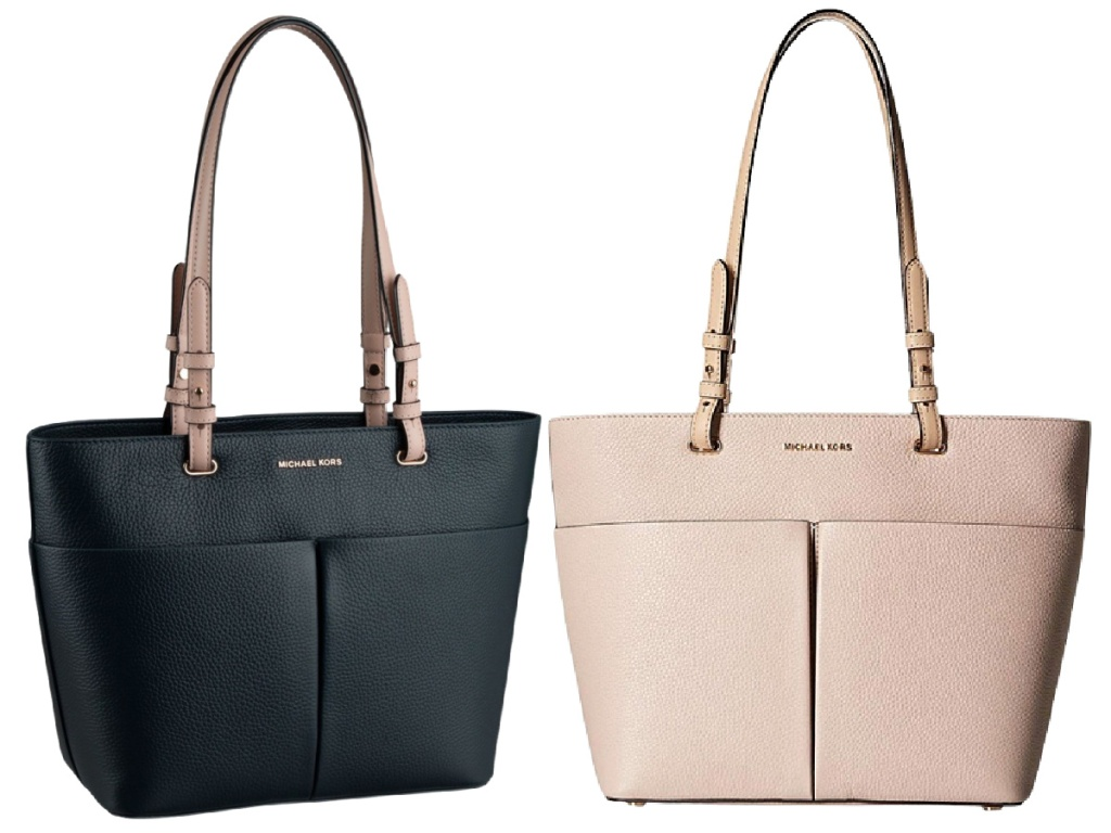 Leather Bedford Tote black and beige