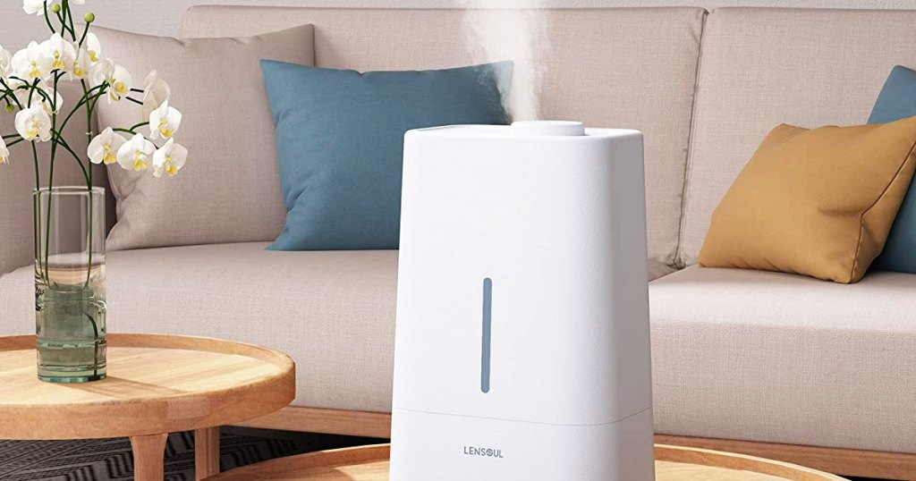 white humidifier in living room