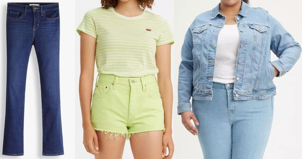 pair of jeans and two women wearing Levi's apparel