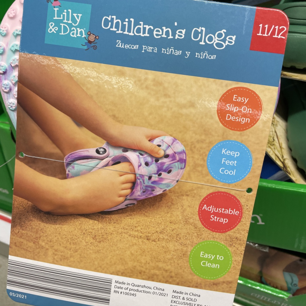 packaging for Lily & Dan's clogs